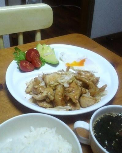 12.08.13(月)キャベツ鶏胸肉炒め