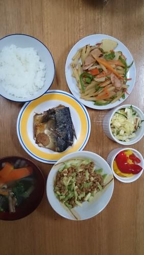 サバの味噌煮の夕食