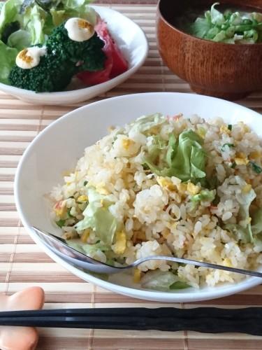 レタス消費ランチ♪炒飯と味噌汁とサラダ