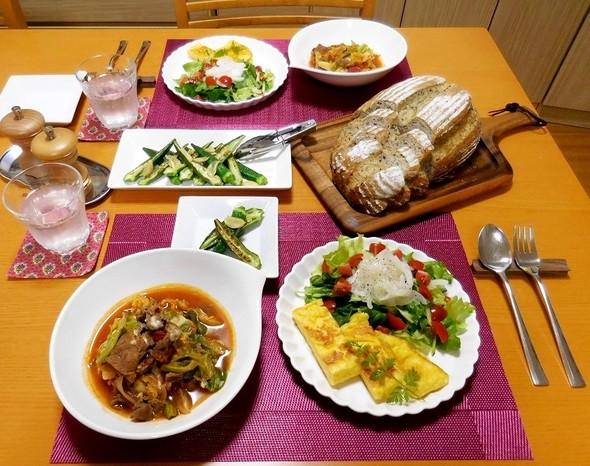 特売牛肉メインの夕食 ^^;