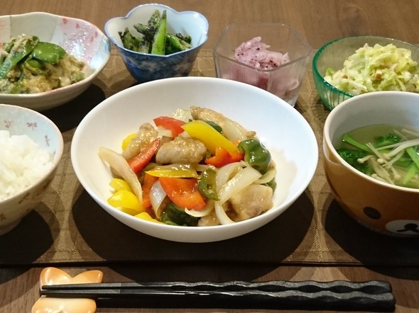 カンタン黒酢酢豚で晩ごはん♪