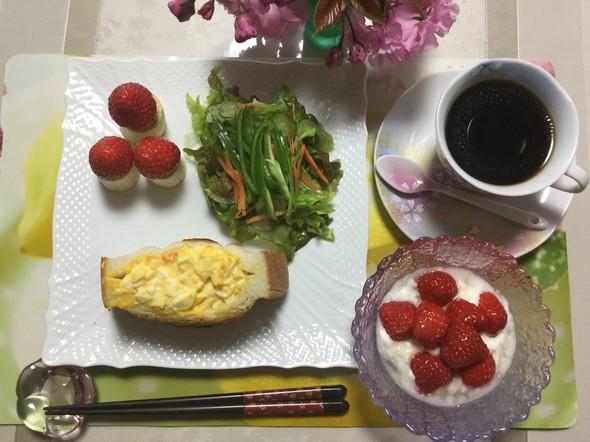 ☆苺と桜がいっぱいの朝ご飯☆