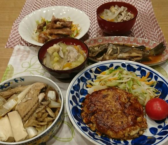 夕食 鯖のハンバーグ