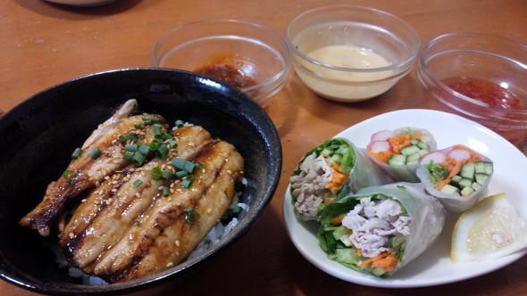 いわしの蒲焼き&野菜たっぷり夕ごはん