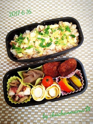 マグロFちらし寿司とリピおかずの息子弁当