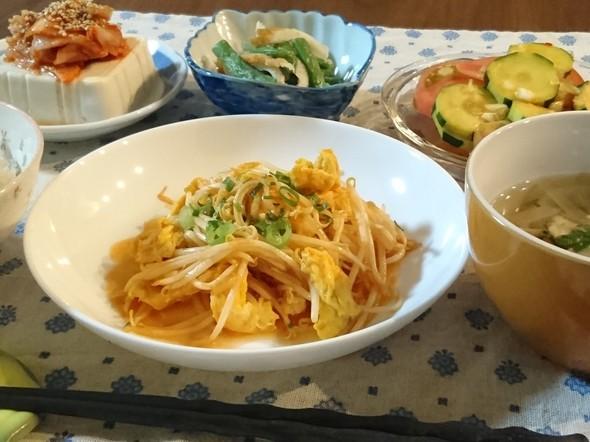 もやしとたまごの炒め物~酢豚風味で晩ご飯