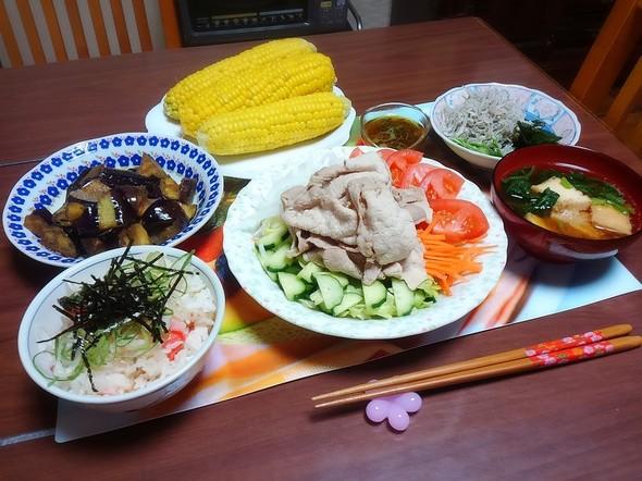 冷しゃぶサラダとカニカマご飯で夕御飯~♪