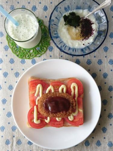 トマトでジューシー☆コロッケトースト朝食