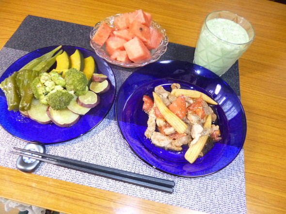 ダイエット温野菜とヤングコーンの炒めもの