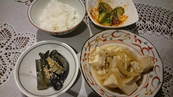 肉豆腐×きゅうりの浅漬け×茄子の胡麻味噌