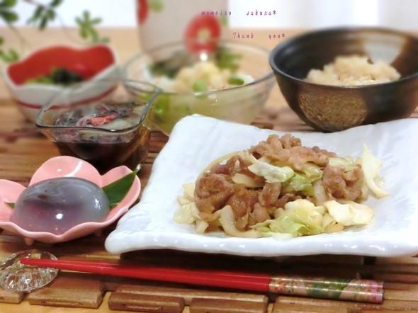 ♡豚とキャベツのオイソ炒めで夕ご飯♡