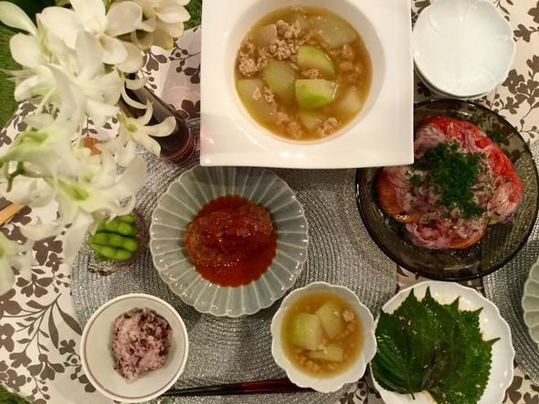 冬瓜のあんかけ&煮込みハンバーグ夕食