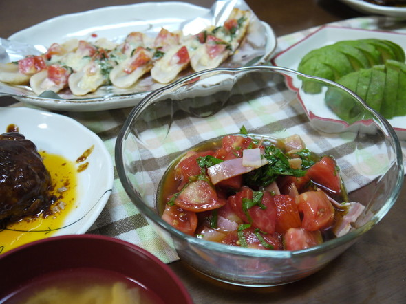 トマト&大葉祭り夕食。