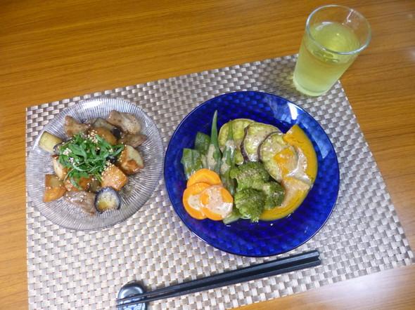 ゆきプーさんのおかずと温野菜サラダの夕食