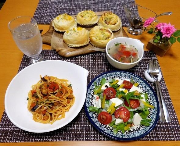 パスタで夕食❤(´~`)