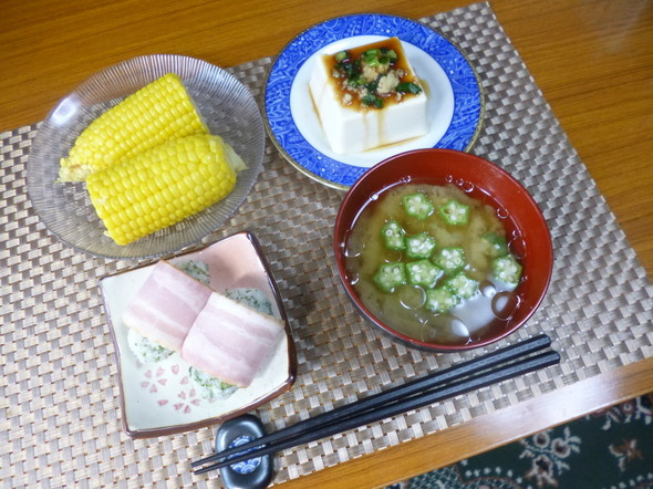 のり塩ご飯☆ベーコン巻きの朝食(*^^)