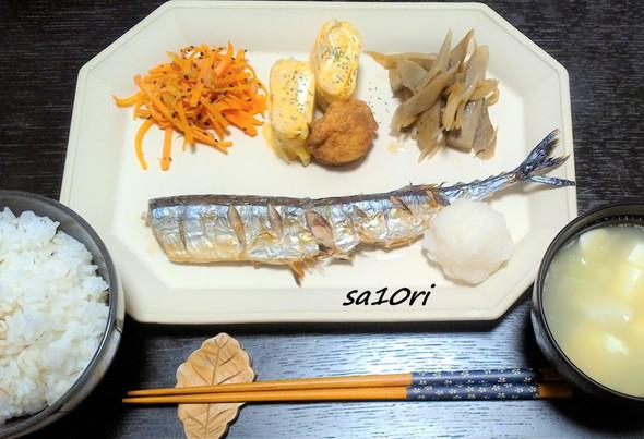 秋刀魚の塩焼きとちょこちょこ副菜プレート