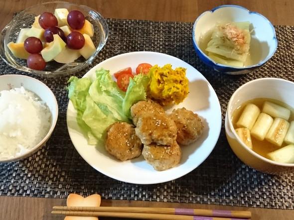 蓮根シャキシャキ♪豆腐入り鶏つくね晩ご飯