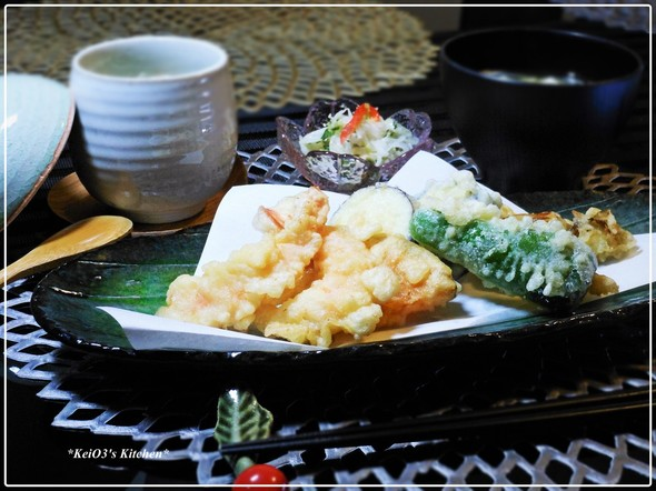 09/22 天ぷらと茶碗蒸し夕食