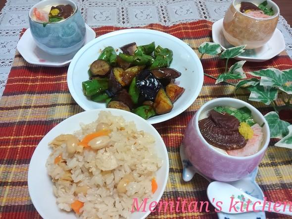 新生姜とお豆の炊き込みご飯&簡単茶碗蒸し