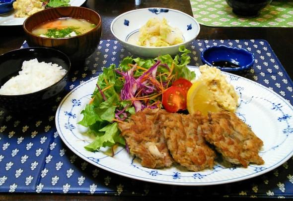 豚コマと舞茸のチヂミ✖白菜のお浸し
