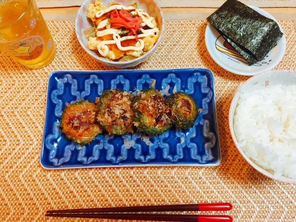 夕食*ゴーヤの肉詰め