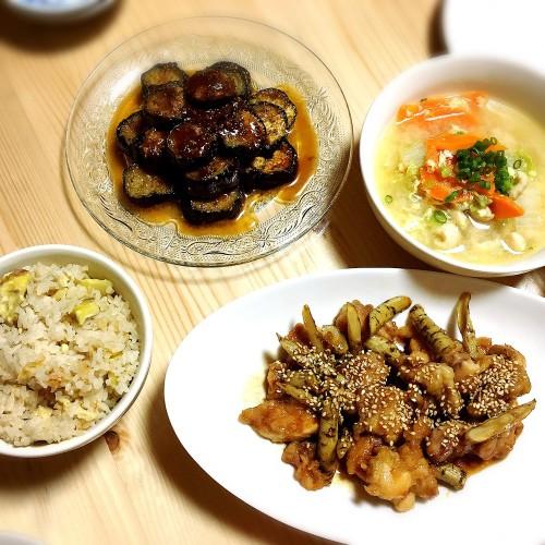 秋の味覚栗ご飯と鶏肉づくしで晩ご飯