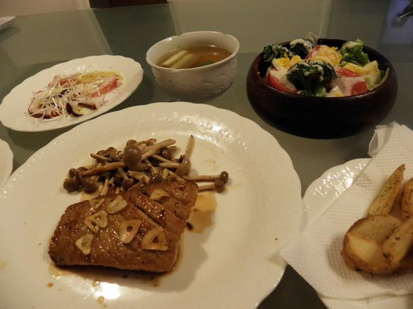 キハダマグロステーキの夕飯(9/29)