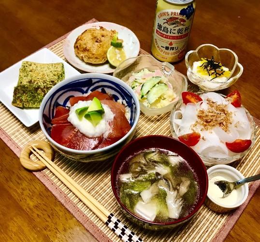 まぐろ漬け丼の晩ご飯~♪