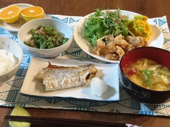 太刀魚の塩焼きと竜田揚げで晩ごはん♪