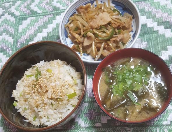 シラスご飯 モヤシと豚バラ肉炒め 味噌汁