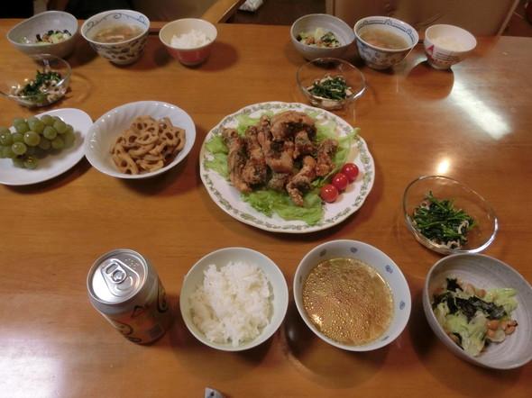 鯖の竜田揚げで 夕ご飯