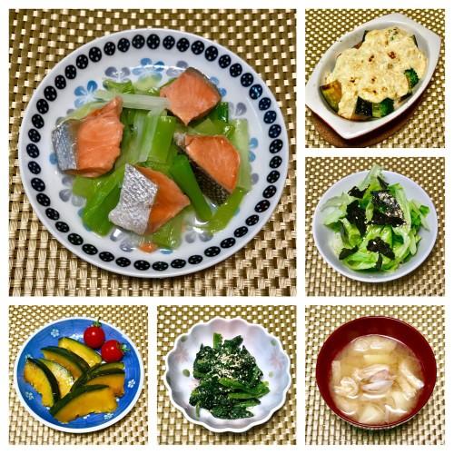 甘塩鮭と長葱のレンジ蒸しの晩ご飯~♪