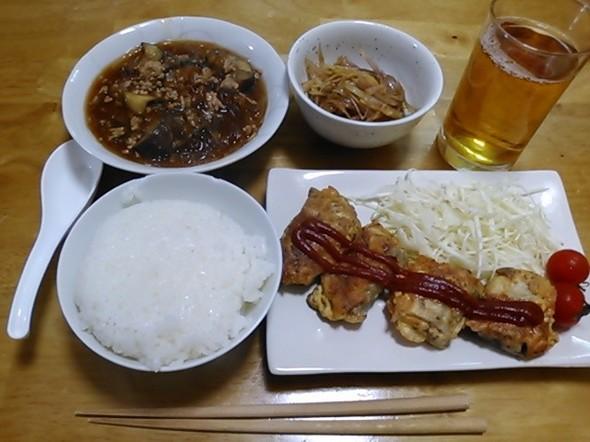 さんまのピカタ中心の夕食_171017