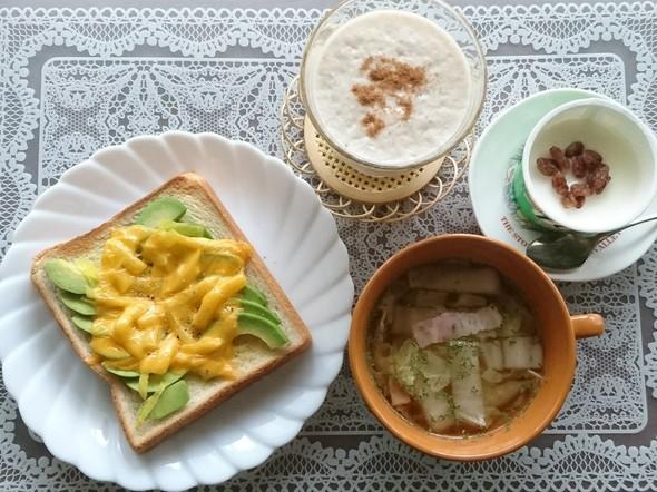 アボカド×たくあんマヨチーズトースト昼食