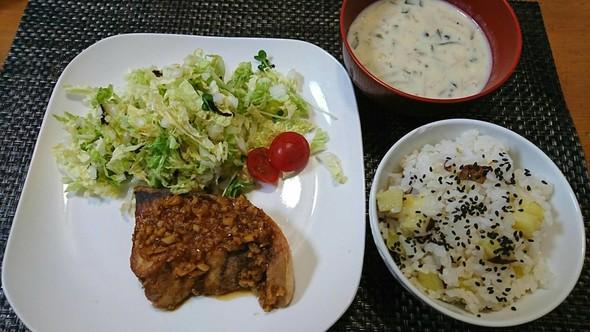 鰤の油淋鶏風とたっぷり白菜&きのこの夕食