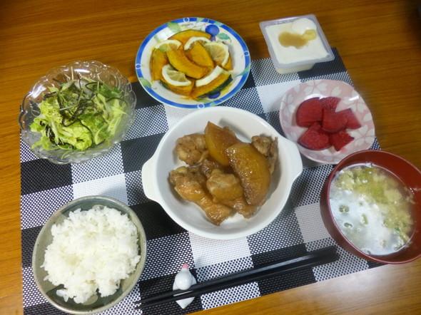 手羽元と大根の煮物と出汁スープの夕食❤