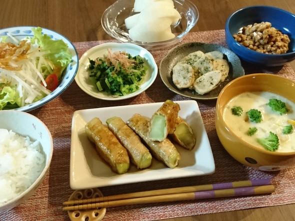ブロッコリー茎の肉巻き☆照り焼き風で夕食
