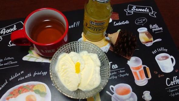 ビタミンレモンとバニラアイスでおやつ