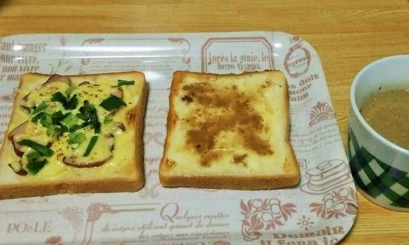 材料あった物でトーストの朝メシ。①