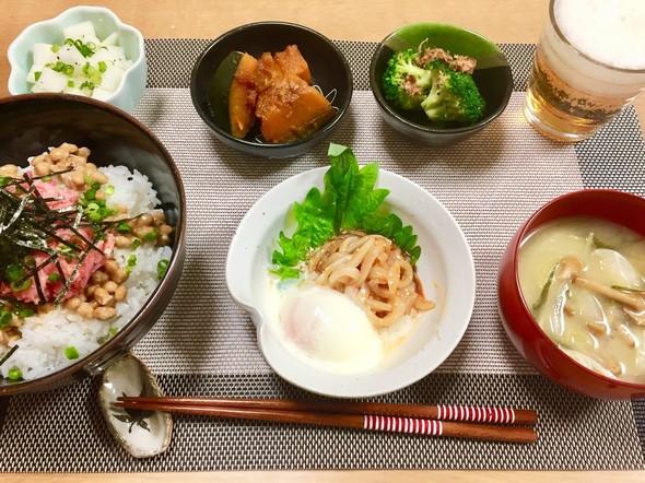 ネギトロ納豆丼で晩酌♬