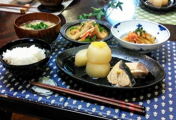 ぶり大根煮✖モロッコいんげんの煮物