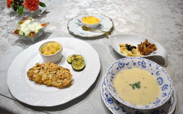 白身魚のアーモンドフライで晩御飯♪