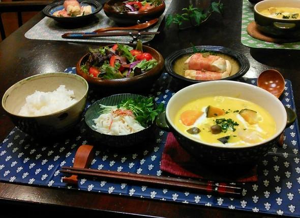 かぼちゃシチュー✖豆腐のベーコン巻き