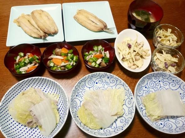 豚と白菜のミルフィーユとイワシの天ぷら