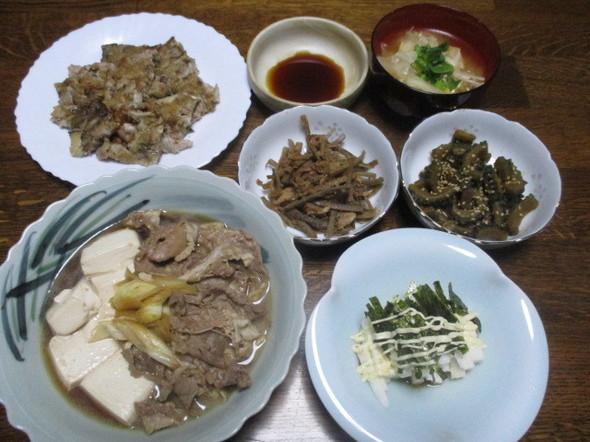 2017/12/6豚と豆腐のすき煮で夕食