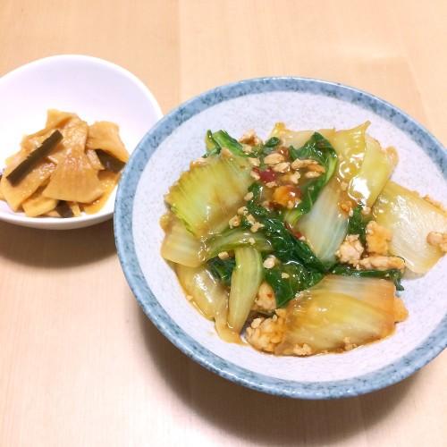 麻婆白菜丼の夕ごはん☆