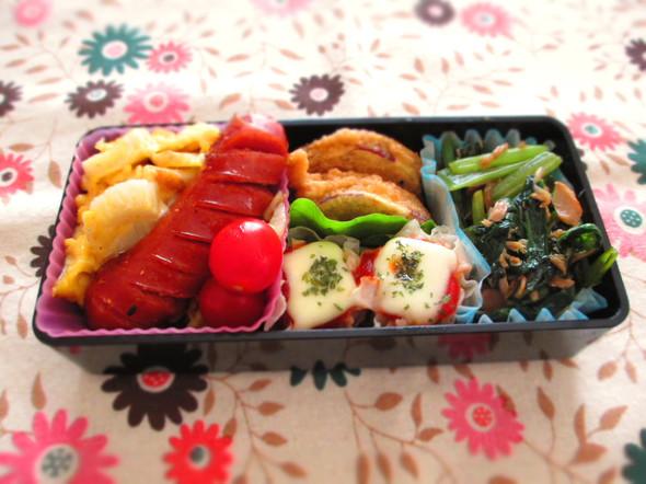 お弁当/じゃこちく卵・小松菜とツナの炒め