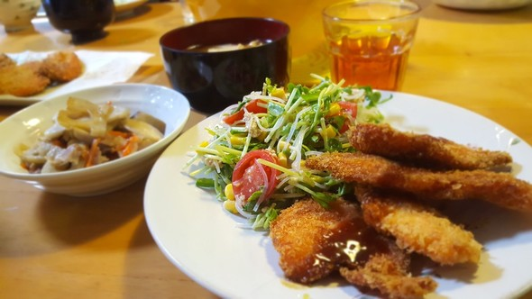サーモンフライ♡で夕食