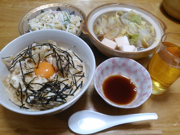 親子丼中心の夕食_180122